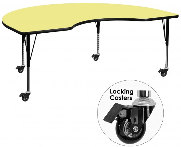 "Mobile 96""L Kidney Shaped Pre-School Yellow Activity Table"