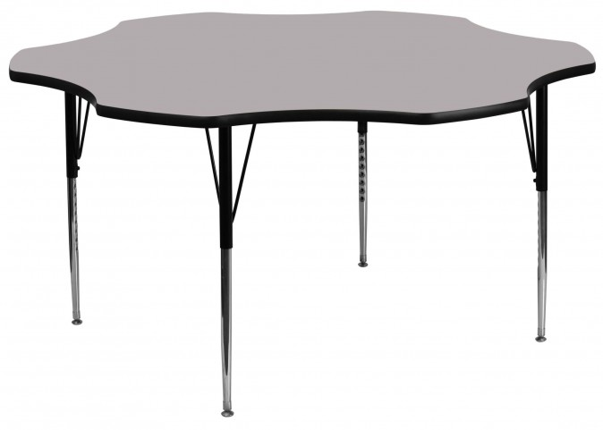 "60"" Flower Shaped Adjustable Height Gray Activity Table"