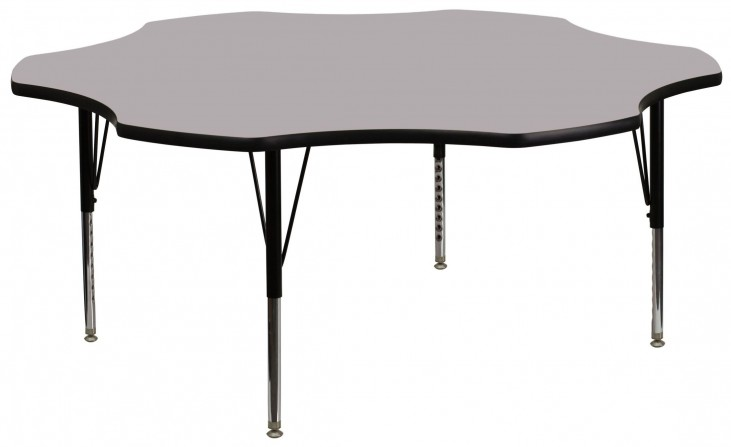 """60"""" Flower Shaped Pre-School Adjustable Height Gray Activity Table"""