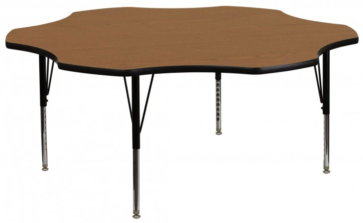 "60"" Flower Shaped Pre-School Adjustable Height Oak Activity Table"
