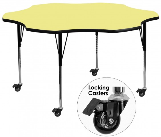 "Mobile 60"" Flower Shaped Adjustable Height Yellow Activity Table"