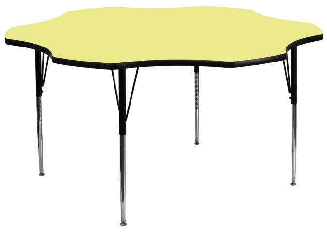 "60"" Flower Shaped Adjustable Height Yellow Activity Table"