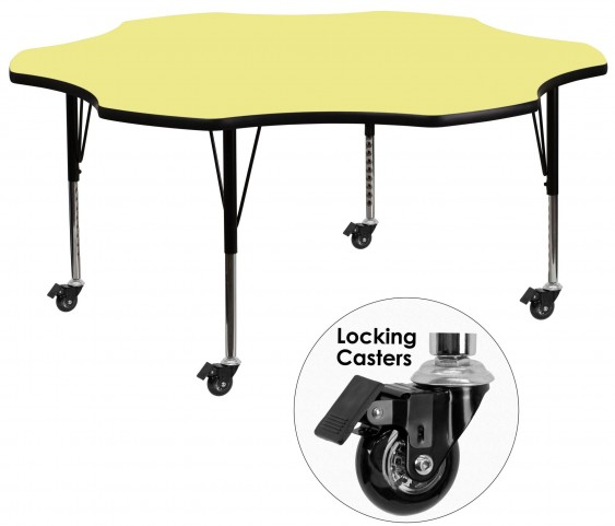 "Mobile 60"" Flower Shaped Pre-School Adjustable Yellow Activity Table"