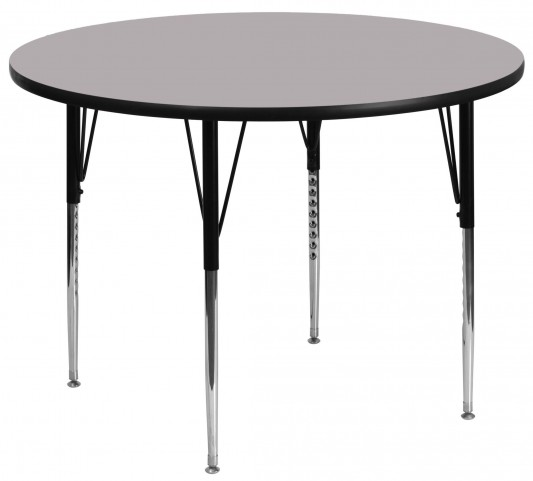"60"" Round Adjustable Height Gray Activity Table"