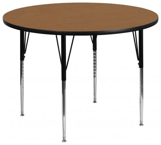 """60"""" Round Adjustable Height Oak Activity Table"""