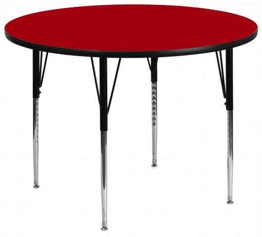 "60"" Round Adjustable Height Red Activity Table"
