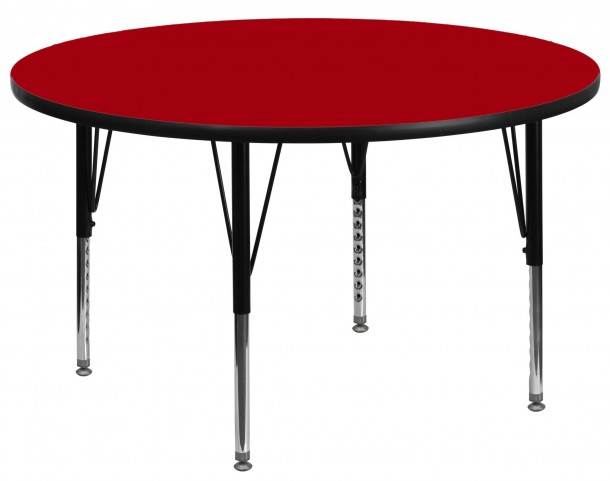 "60"" Round Pre-School Adjustable Height Red Activity Table"
