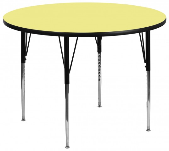 "60"" Round Adjustable Height Yellow Activity Table"