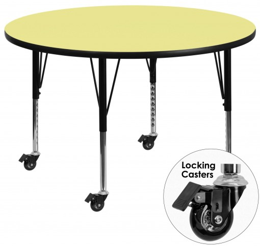 "Mobile 60"" Round Pre-School Adjustable Height Yellow Activity Table"