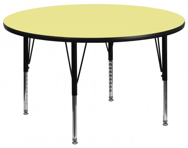 "60"" Round Pre-School Adjustable Height Yellow Activity Table"