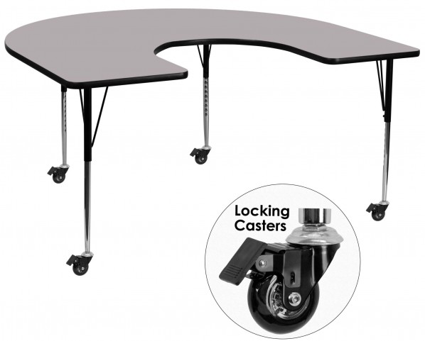"""Mobile 66""""L Horseshoe Adjustable Height Gray Activity Table"""