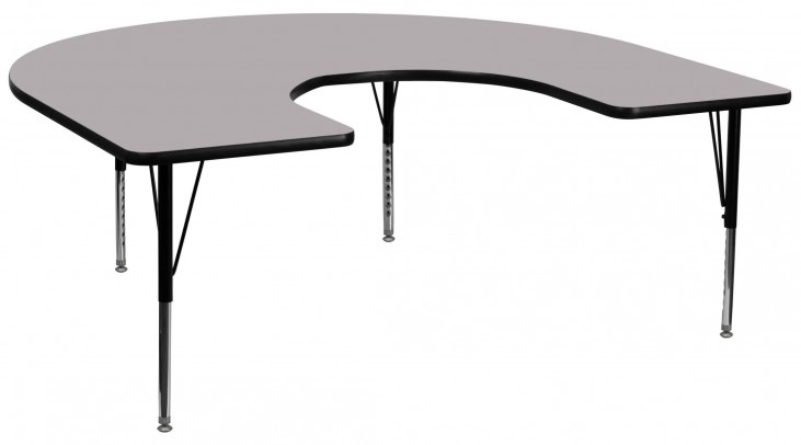 "66""L Horseshoe Pre-School Adjustable Height Gray Activity Table"