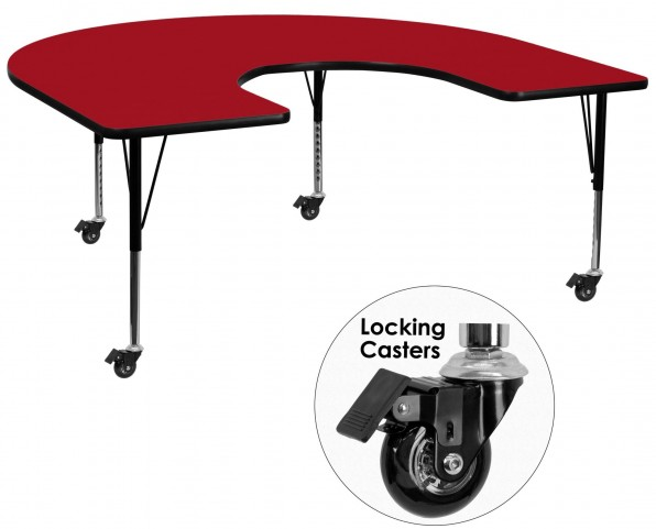 "Mobile 66""L Horseshoe Pre-School Adjustable Height Red Activity Table"