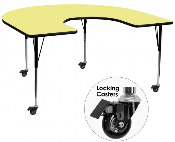 """Mobile 66""""L Horseshoe Adjustable Height Yellow Activity Table"""