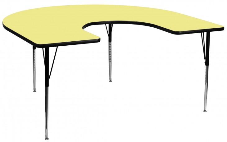 "66""L Horseshoe Adjustable Height Yellow Activity Table"