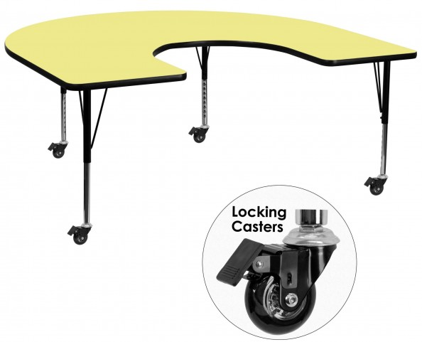 "Mobile 66""L Horseshoe Pre-School Adjustable Yellow Activity Table"