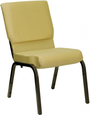 18.5''W Beige Patterned Hercules Church Chair - Gold Vein Frame Finish