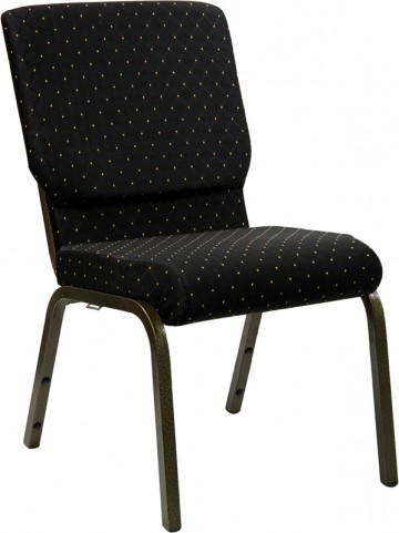 18.5''W Black Patterned Stacking Hercules Church Chair with 4.25'' Thick Seat - Gold Vein Frame Finish