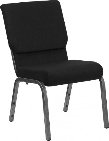 18.5''W Black Stacking Hercules Church Chair Silver Vein Frame Finish