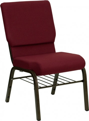18.5''W Burgundy Hercules Church Chair with 4.25'' Thick Seat, Book Basket - Gold Vein Frame