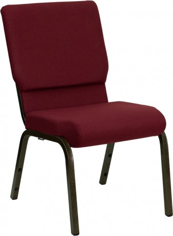 18.5''W Burgundy Stacking Hercules Church Chair with 4.25'' Thick Seat - Gold Vein Frame Finish