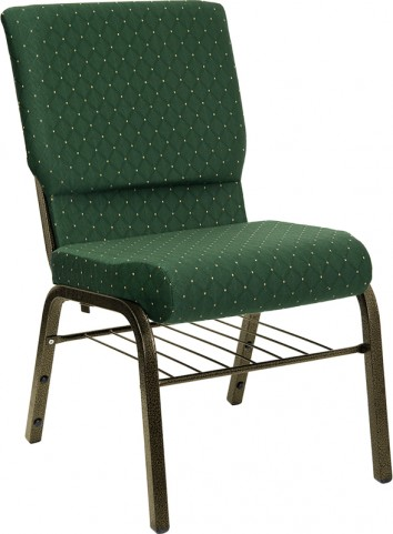 18.5''W Green Patterned Hercules Church Chair with 4.25'' Thick Seat, Book Basket - Gold Vein Frame