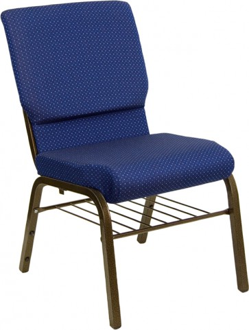 18.5''W Navy Blue Patterned Hercules Church Chair with 4.25'' Thick Seat, Book Basket - Gold Vein Frame