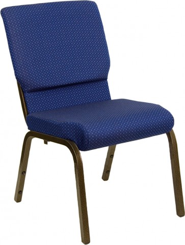 18.5''W Navy Patterned Stacking Hercules Church Chair with 4.25'' Thick Seat - Gold Vein Frame