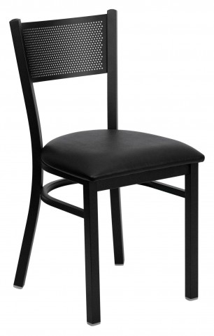 Hercules Series Black Grid Back Metal Vinyl Restaurant Chair
