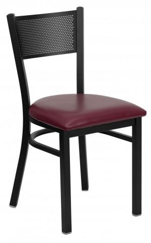 Hercules Series Black Grid Back Metal Burgundy Vinyl Restaurant Chair