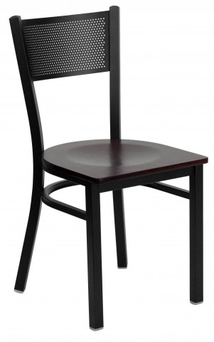 Hercules Series Black Grid Back Metal Mahogany Wood Restaurant Chair