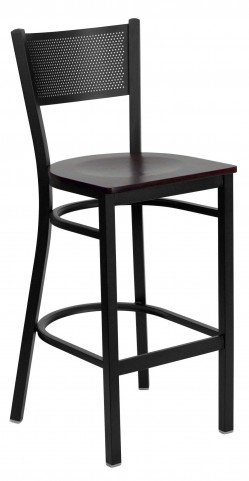 Hercules Series Black Grid Back Mahogany Wood Restaurant Bar Stool