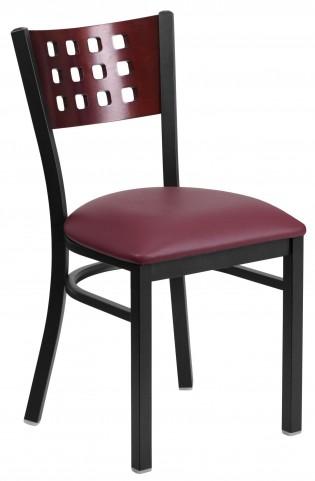 Hercules Series Black Cutout Back Burgundy Vinyl Restaurant Chair
