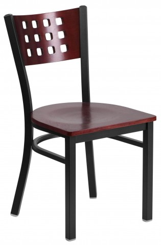 Hercules Series Black Cutout Back Mahogany Wood Restaurant Chair
