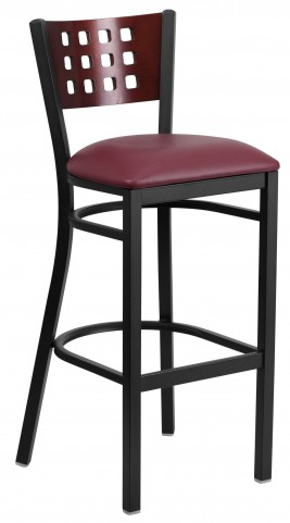 Hercules Series Black Cutout Back Metal Burgundy Restaurant Barstool