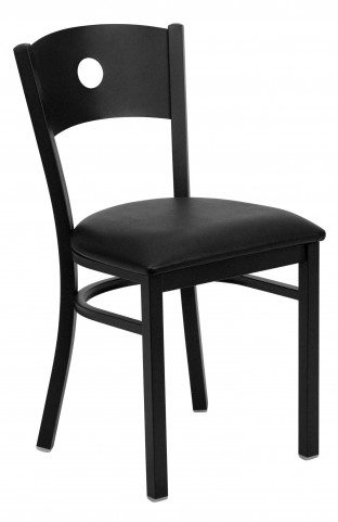 Hercules Series Black Circle Back Vinyl Restaurant Chair