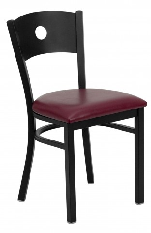 Hercules Series Black Circle Back Burgundy Vinyl Restaurant Chair