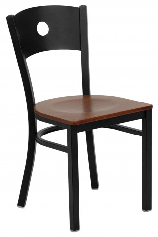 Hercules Series Black Circle Back Cherry Wood Restaurant Chair