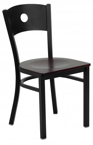 Hercules Series Black Circle Back Mahogany Wood Restaurant Chair