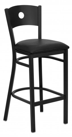 Hercules Series Black Circle Back Vinyl Restaurant Bar Stool