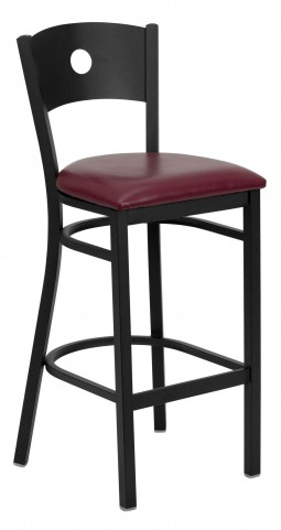 Hercules Series Black Circle Back Burgundy Vinyl Restaurant Bar Stool