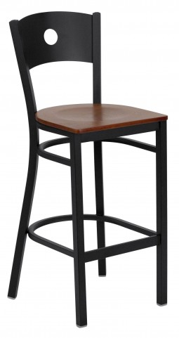 Hercules Series Black Circle Back Cherry Wood Restaurant Bar Stool