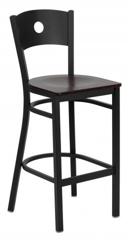 Hercules Series Black Circle Back Mahogany Wood Restaurant Bar Stool