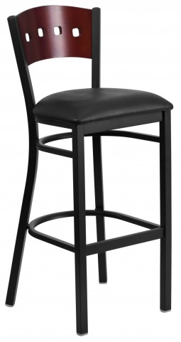 60515 Hercules Series Black 4 Square Back Vinyl Restaurant Barstool