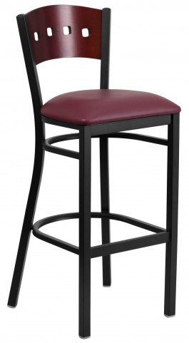 60515 Hercules Series Black 4 Square Back Burgundy Vinyl Restaurant Barstool