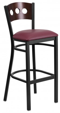 60516 Hercules Series Black 3 Circle Back Burgundy Vinyl Restaurant Barstool