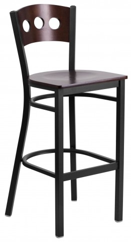 60516 Hercules Series Black 3 Circle Back Wood Restaurant Barstool