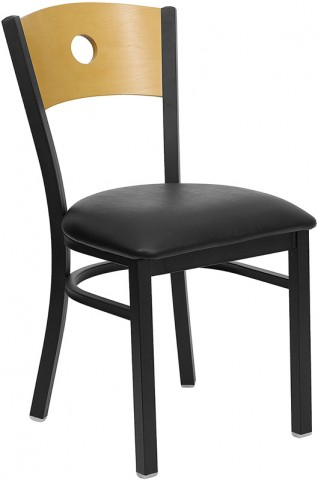 Hercules Black Circle Back Metal Restaurant Chair - Natural Wood Back, Black Vinyl Seat