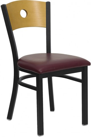 Hercules Black Circle Back Metal Restaurant Chair - Natural Wood Back, Burgundy Vinyl Seat