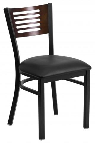6G5B Hercules Series Black Slat Back Vinyl Restaurant Chair